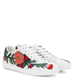 GUCCI Embellished leather sneakers.  gucci  shoes   Leather Trainers,  Leather Sneakers, bb2132721c5