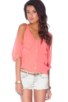 Brooke Button Down Blouse in Coral $28 at www.tobi.com
