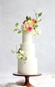 Gold Wedding Cakes Textured fondant wedding cake with abstract sugar flowers in a pretty spring palette Black Wedding Cakes, Elegant Wedding Cakes, Elegant Cakes, Beautiful Wedding Cakes, Wedding Cake Designs, Beautiful Cakes, Gold Wedding, Floral Wedding, Wedding Gowns