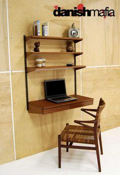 danish midcentury modern wall desk by kia kristiansen and fm furniture
