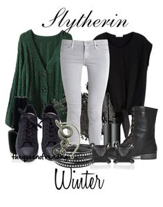 """""""Slytherin Winter"""" by thequeenofreading ❤ liked on Polyvore featuring AG Adriano Goldschmied, OPI, NARS Cosmetics, Rampage and Eva Fehren"""