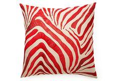 Zebra 22x22 Pillow, Red on OneKingsLane.com