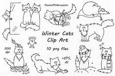 Winter Cats Clip Art doodle cats clipart hand drawn cat