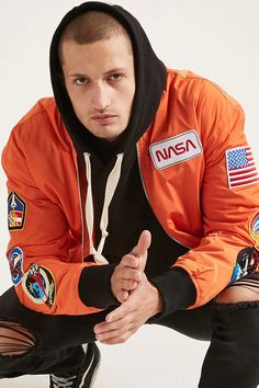 Product Name:NASA Patched Bomber Jacket, Category:mens-main, Price:42.9