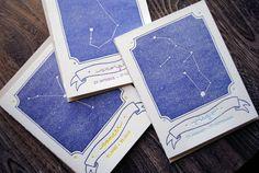 Letterpress Card - Zodiac Constellation Cards $5 www.printerettepress.com sooo cute!