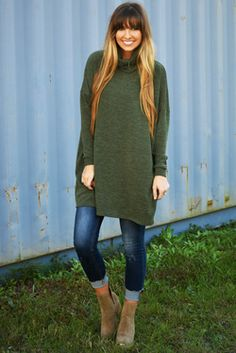 Share to save 10% on  your order instantly!  Let Yourself Be Free Sweater: Olive Green