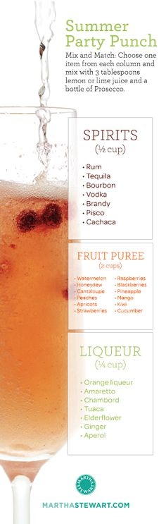 Mix-and-match Prosecco punch: an infinite number of delicious combinations with fresh summer fruit.