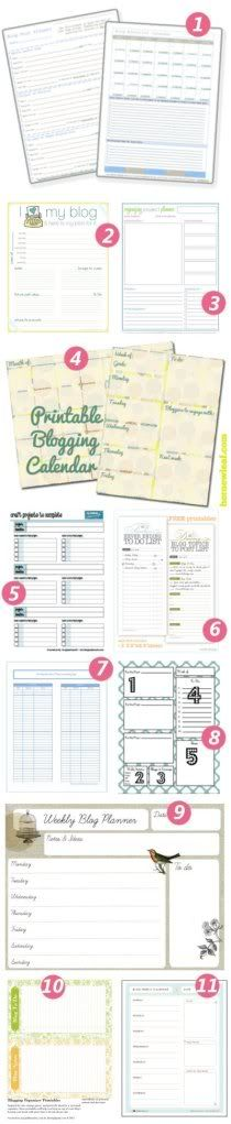 diy home sweet home: Organize Your BLOG, a very comprehensive list of places to find free printables to help you organize your blog calendar