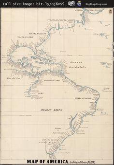 Ribero's map of America (1529) — http://www.bigmapblog.com/2011/kohls-repro-of-riberos-map-of-america-1529/