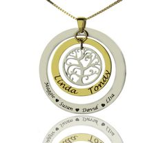 Family Tree Name Necklace in Sterling Silver FTN9