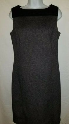 Dress Coldwater Creek M L Sheathe Jumper Sleeveless Black Gray Classic - Grey Dresses - Ideas of Grey Dresses Midi Pinafore Dress, Pinafore Dress Pattern, Grey Dresses, Plus Size Dresses, Sleeveless Jumper, Black And Grey, Gray, Coldwater Creek, Sheath Dress