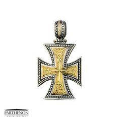 Greek handmade, Gerochristo Silver and Solid Gold Maltese Cross Pendant. This gorgeous Cross is from our Maltese Cross Collection. The Cross is approx. Ebay Shopping, Christian Symbols, Greek Jewelry, Maltese Cross, Parthenon, Ceramic Jewelry, Gold Cross, Crosses, Cross Pendant