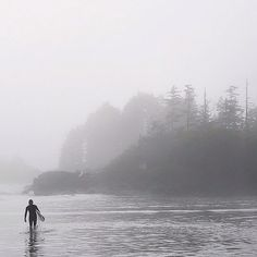 Into the mist and surf – a very west coast shot captured by in Tofino. Vancouver Aquarium, Vancouver Island, Granville Island, Canadian Travel, Surf Trip, Surfs Up, Travel Memories, Pacific Northwest, British Columbia