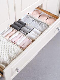 lovingmona Drawer Divider Organisers 2 Pack Wardrobe Organiser Storage Box 24 Cell Collapsible Closet Organiser for Storing Socks Bra Underwear Grey