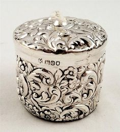"""Antique Sterling Silver String Holder c1900 measuring 2"""" in diameter and 2-1/4"""" high."""