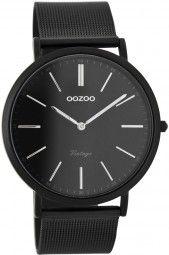 Oozoo Ultra Slim Vintage Uhr C7394 - schwarz/silber - 40 mm - Meshband