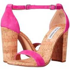 Steve Madden Carson-C (Hot Pink) Women's Shoes ($81) ❤ liked on Polyvore featuring shoes, sandals, wide heel sandals, one strap sandals, open toe shoes, open toe leather sandals and synthetic leather shoes