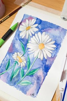 Draw + Paint a Daisy in Watercolour