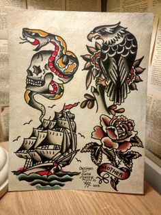 Finally finished this flash page, available soon at the tattoo flash store www.etsy.com/MicahShaferArtPrints
