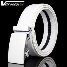 [TG] Top Grade Quality Cowhide Plate Automatic Belts for Men Popular White Strap Waist Men Belt Genuine Leather Male Belts