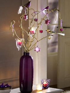 last-minute diy christmas decorations vase branches ornaments candle holders