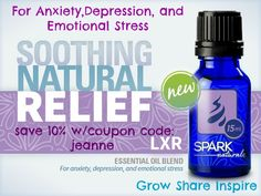 This is a great calming blend. Use this blend at the first signs of a stressful/anxious event. Apply LXR topically to base of brain stem, shoulders and even on the bottom of feet as needed. Use daily to have more consistent results.  http://sparknaturals.com/index.php/eo-blends/bl-lxr-5ml.html/?id=525 Save 10% with coupon code: jeanne