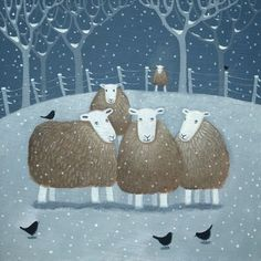 """A Winter's Day"" Herdwick sheep and blackbirds."