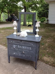 Vintage commode with Queenstown Gray milk paint & a white oil Sharpie!