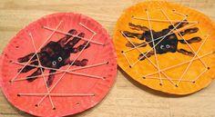 Eloora Facepainting and other: Tvoření s dětmi- Pavouci z obtisku ruky na papírovém talíři