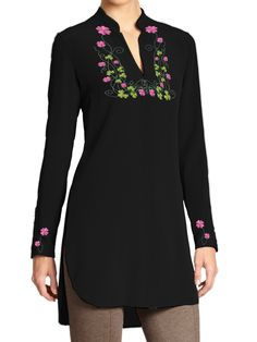 This adorable top is embroidered with multicolor flowers around the neck and sleeves and is available in various rainbow colors. Wear it with or without trousers and mix and match it with just the right accessories. - Customized according to your size Available in Linen, Silk and Silk Chiffon (full lining with Chiffon)- Embroidered - Full Sleeves - V-Neck
