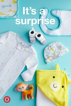 """Is it a boy? Is it a girl? Check out Target's """"It's a Surprise"""" registry starter list for gender-neutral nursery, clothing and baby gear options. An easy way to successfully create a neutral registry is by adding items you love in soft shades of gray, green, yellow and white. This color palette will provide lots of options when it comes to bodysuits, outfits, blankets, crib bedding sets and more."""