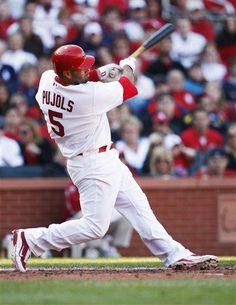 There's the man! Albert Pujols, on and off the field.