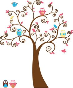 Cute Kids tree with 5 owls and birds vinyl wall decal cute for a nursery or childs room, via Etsy.