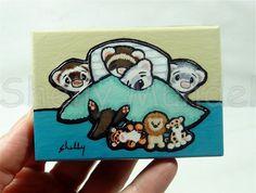 Home Sweet Home, Ferret Art Print Block, Shelly Mundel Art #FerretArt