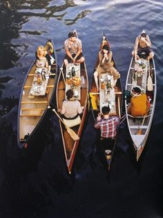 picnic on the lake in canoes - friends, outdoors, get-togethers