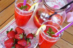 Λεμονάδα Φράουλας Strawberry Lemonade, Red Berries, Sorbet, Panna Cotta, Juice, Homemade, Stock Photos, Ethnic Recipes, Food