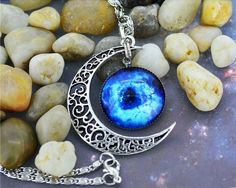 Black Hole Silver Moon Necklace