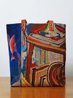 Les Sauvage - Cabas lin, patchwork de tapisseries point de croix, cuir naturel 40 x 37 x 10 cm 145 €