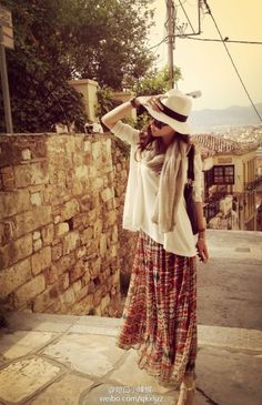 Bohemian style bust skirt beach skirt