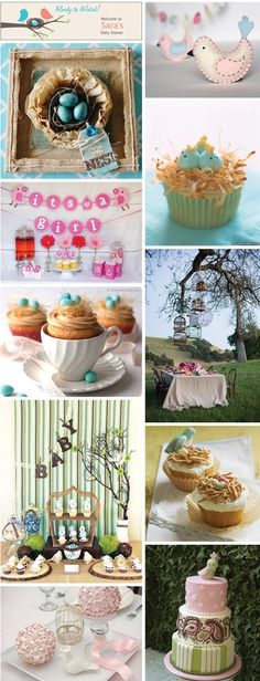 Bird themed baby shower. I love the table display.