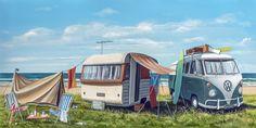 Beach Base Camp by Graham Young - Art Prints New Zealand Living In New Zealand, New Zealand Art, Beach Art, Ocean Beach, Nz Art, Young Art, Kiwiana, Wall Art For Sale, Realistic Paintings
