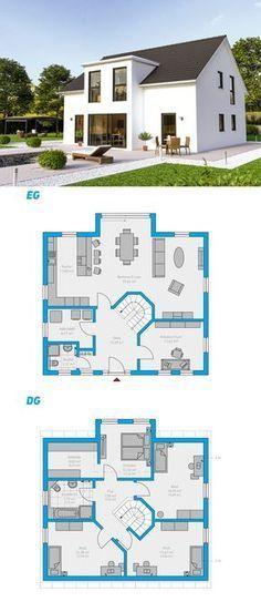 Clarus 180 - schlüsselfertiges Massivhaus - - New Ideas Sims 4 House Plans, Dream House Plans, Modern House Plans, House Floor Plans, Sims Building, Building A House, Casas The Sims Freeplay, Sims 4 House Design, Casas The Sims 4
