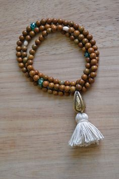 Wood stone mala beads