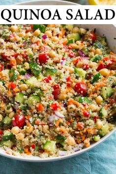 Packed with fresh veggies, nutritious quinoa and filling chick peas. Such a delicious and healthy lunch or dinner! Chickpea Recipes, Healthy Salad Recipes, Vegetarian Recipes, Cooking Recipes, Quinoa Salad Recipes Cold, Lentil Recipes, Quinoa Dinner Recipes, Fresh Salad Recipes, Kale Recipes
