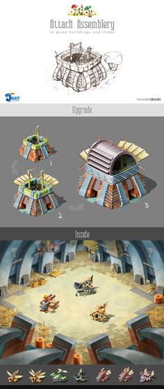 Attack Assemblery: In game buildings and items by Just Games, via Behance