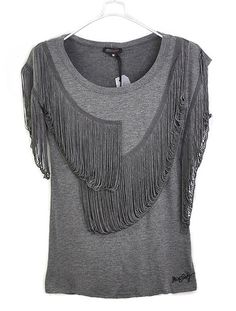 Grey Asymmetrical Tassel Sleeve Round Neck T-shirt