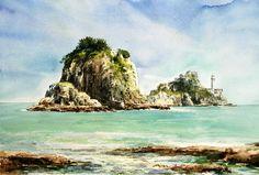 오륙도 53.0 x 40.9cm watercolor dn ppaper watercolor by Jung in sung