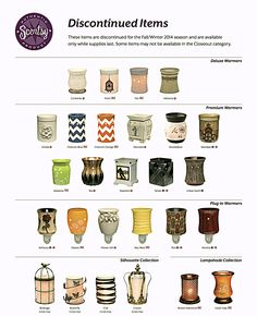 Check out the Scentsy Warmers being  discontinued with the Spring/Summer Catalog! www.lindamd.scentsy.us
