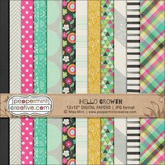 Hello Growth Papers - $2.70 : Peppermint Creative, Digital Scrapbook Supplies