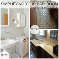 bathroom simplification + simple solutions. DIY makeover. Simple organization.